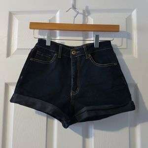 Dark wash high waisted denim shorts 24-25